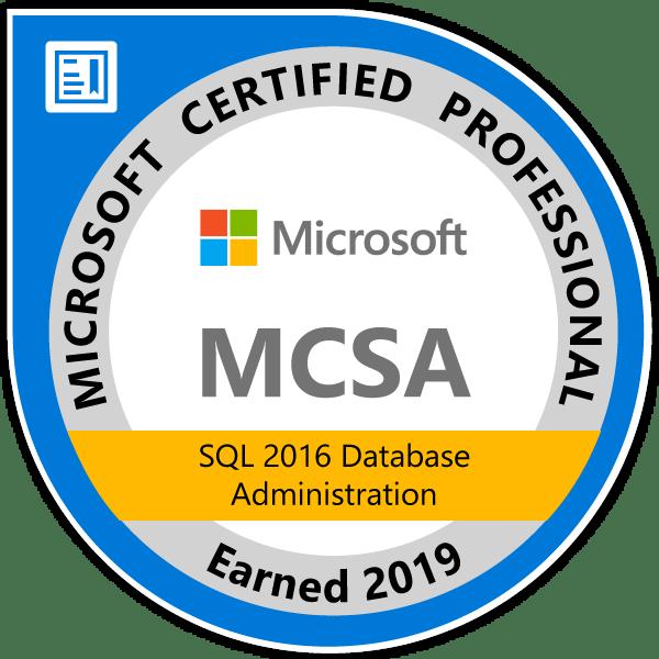 MCSA SQL 2016 Database Administration